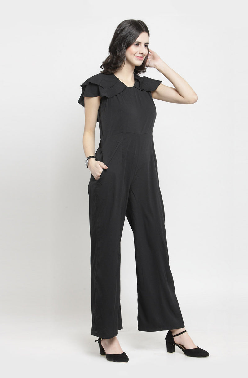 Layered Ruffle Cape Black Jumpsuit by Afamado