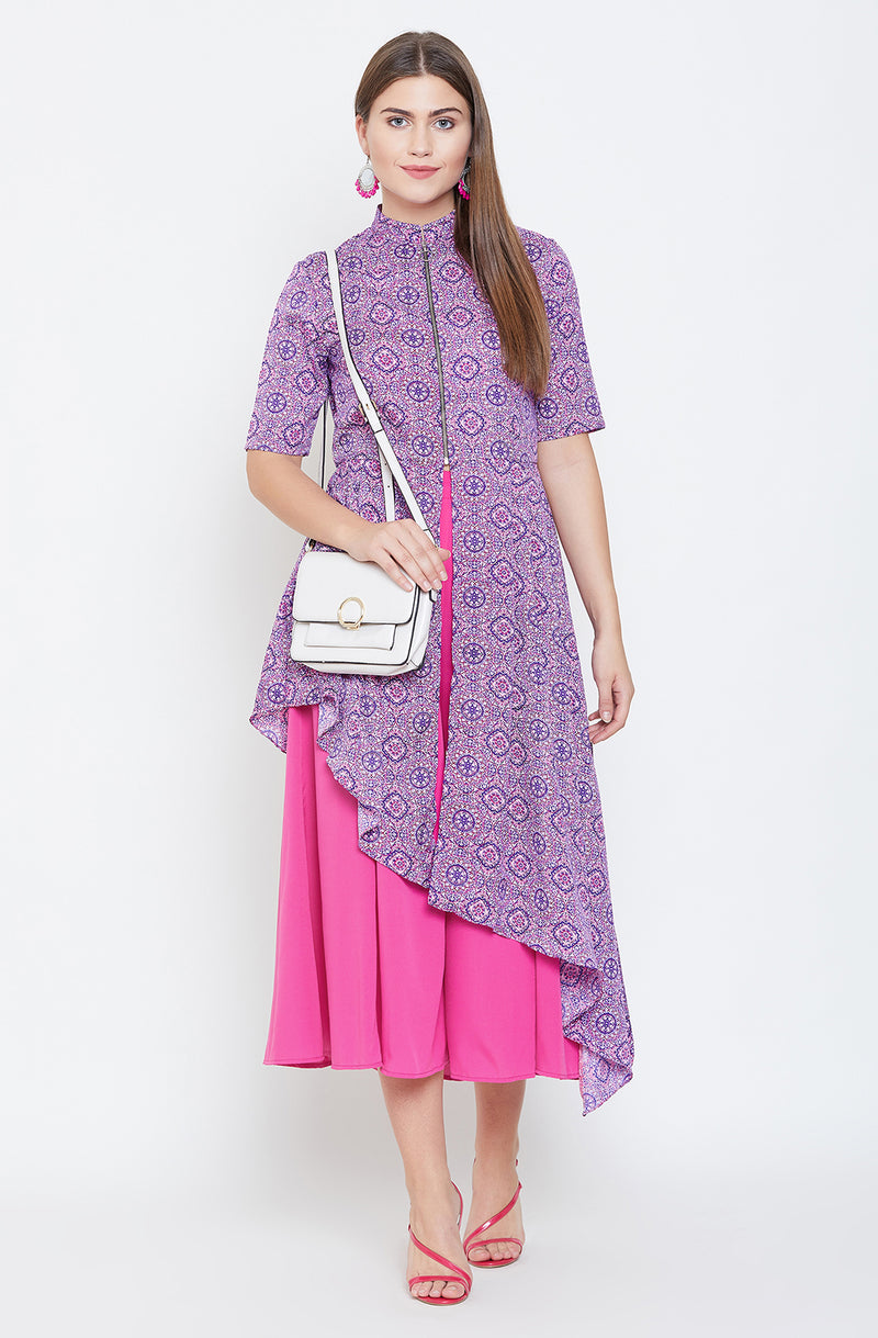 Purple High Low Tunic With Pants