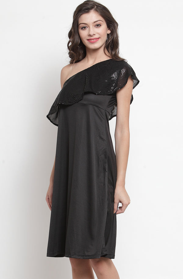 Black Sequined One-Shoulder Dress