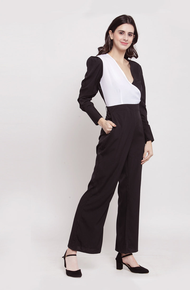 Half Black & White Bodice Jumpsuit by Afamado