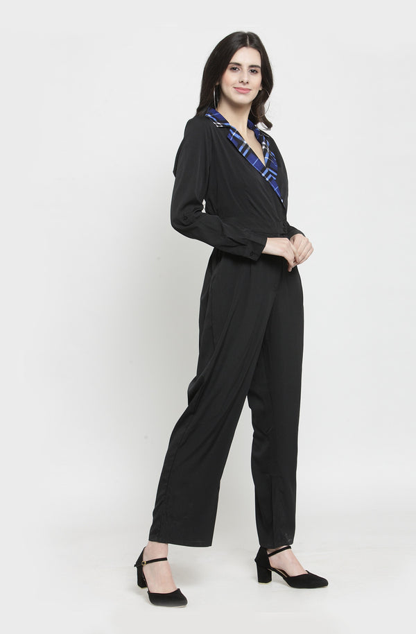 Contrast Gingham Collar Black Jumpsuit