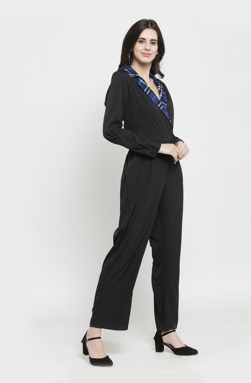 Gingham Collar Black Jumpsuit by Afamado