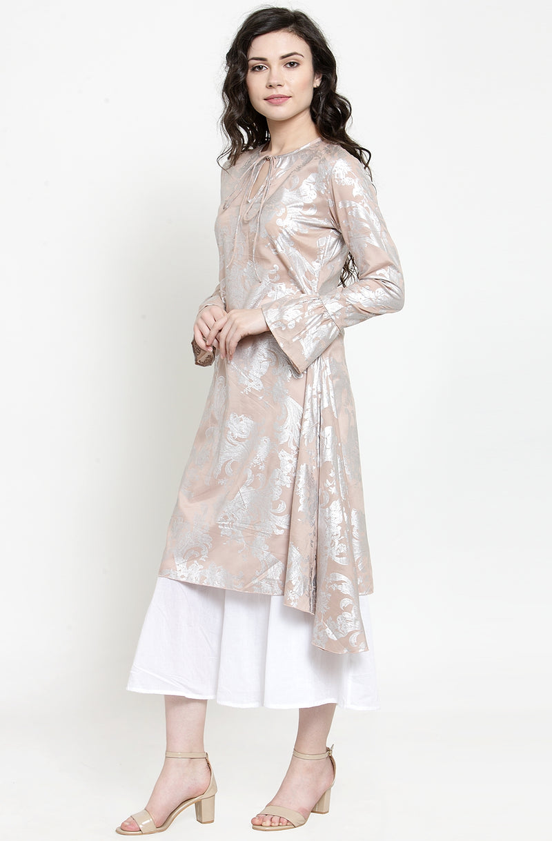 Abstract Floral Print Shimmery Cotton Tunic With Pant