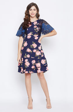Navy Floral Ruffled Sleeves