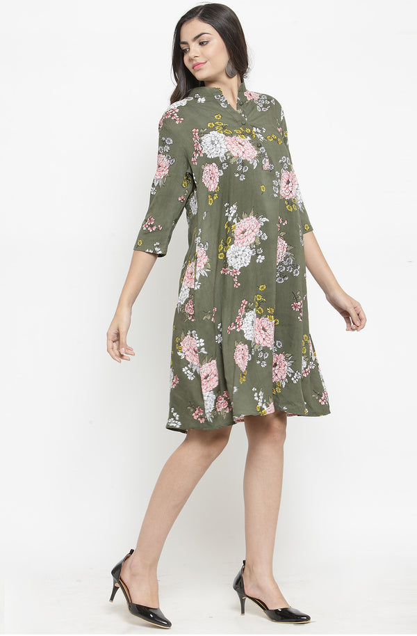 Floral Green Cotton A-Line Casual Dress