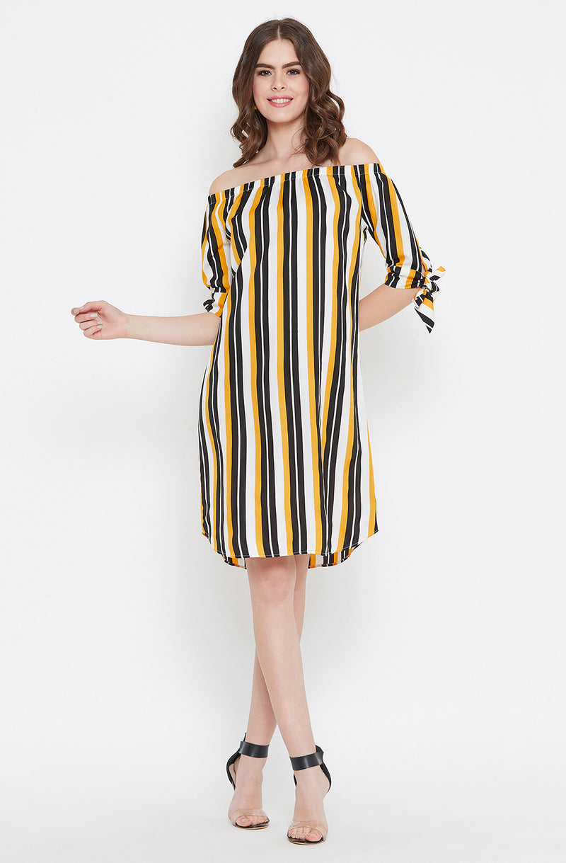 Off-Shoulder Yellow and Black Striped Dress by Afamado