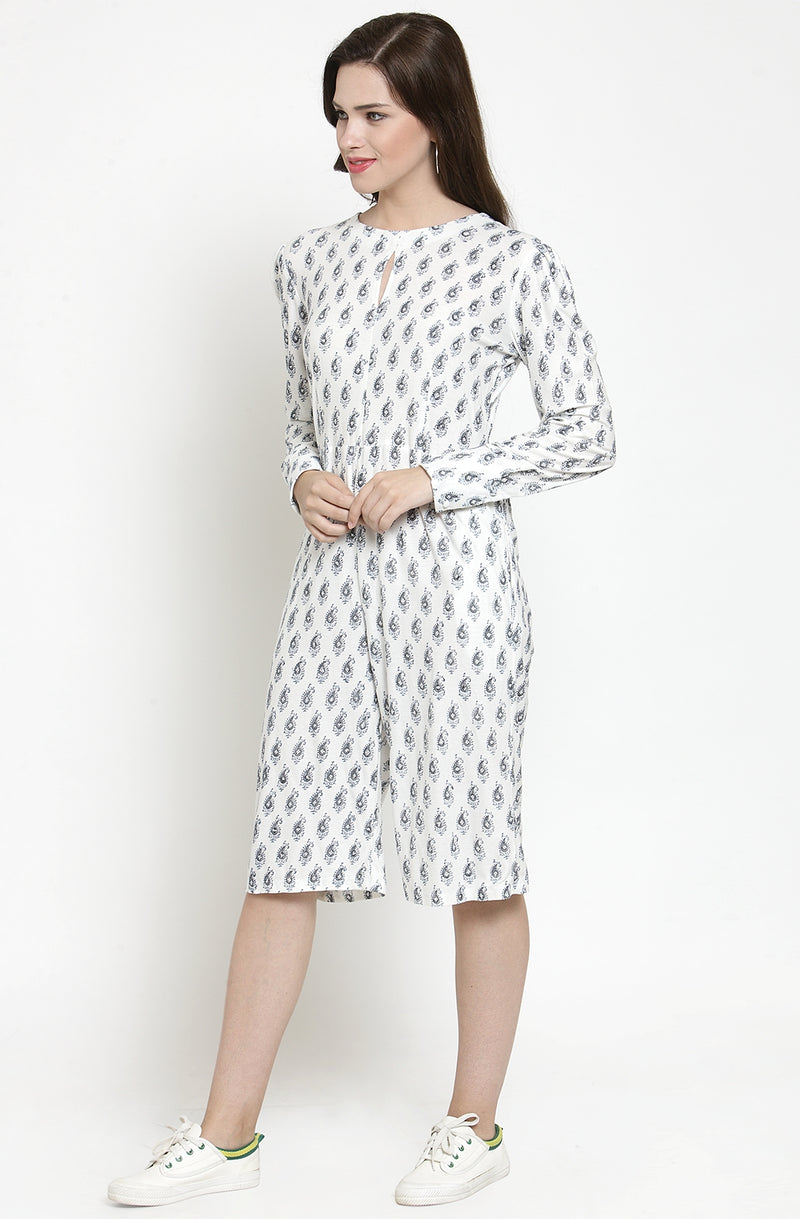 Long-Sleeved Cotton Paisley Print Jumpsuit