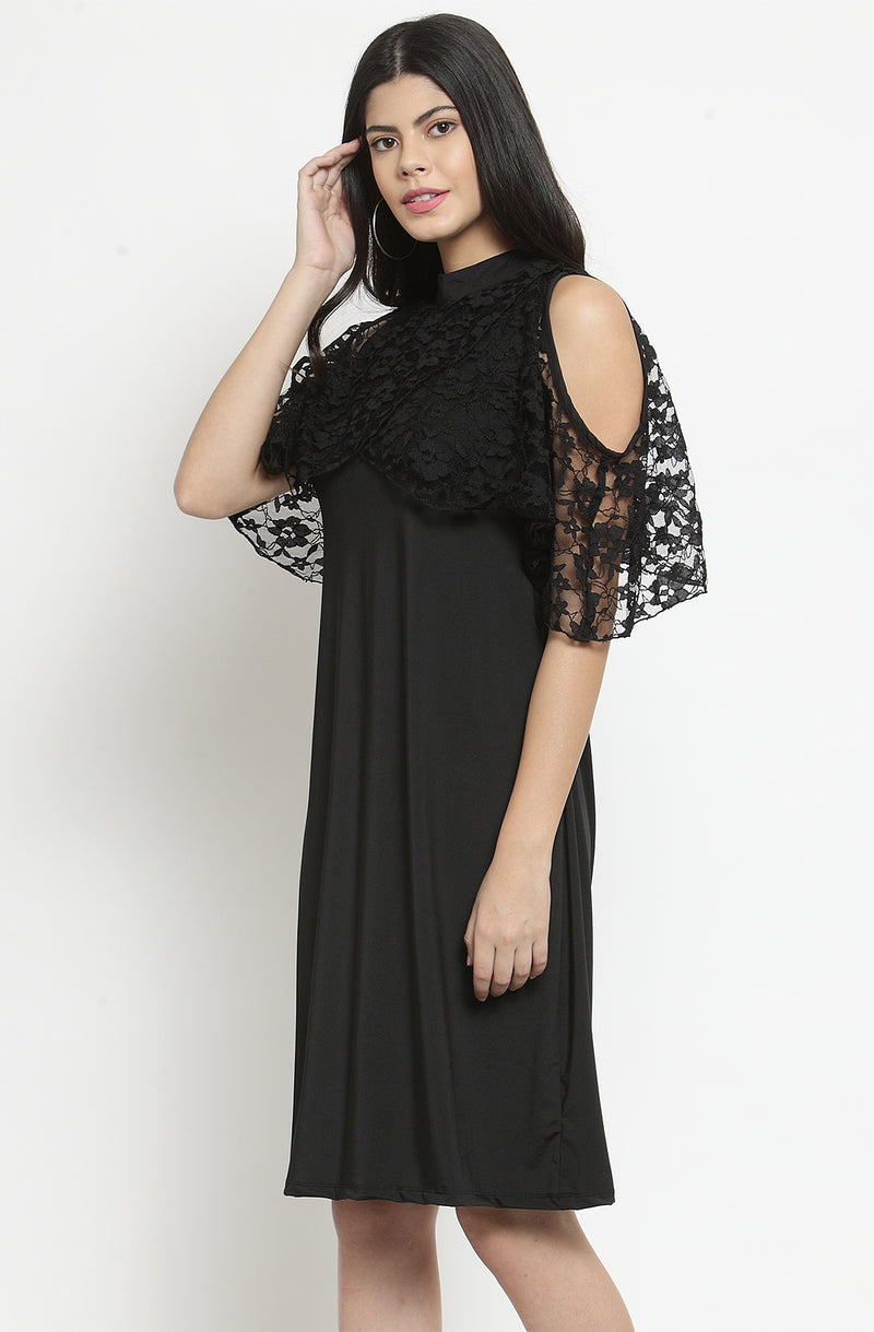 Cold-Shoulder with Lacy Cape Sleeves