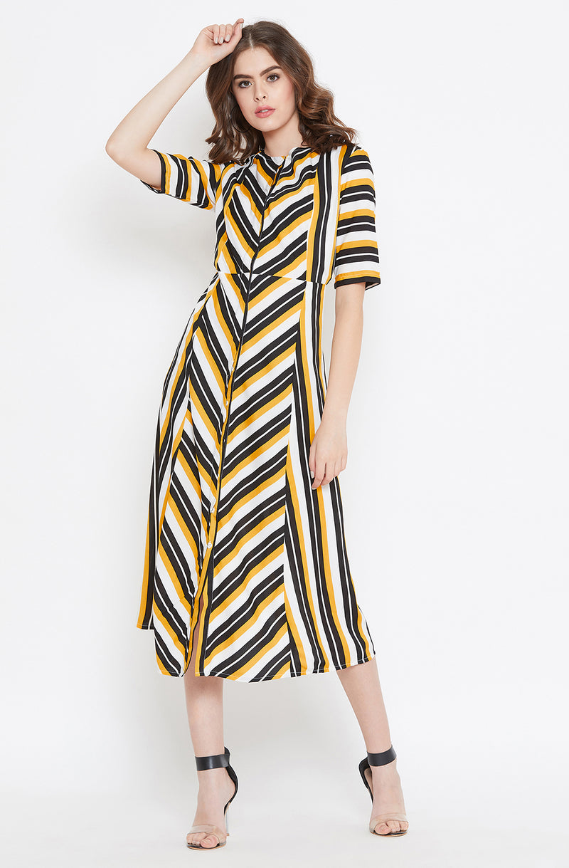 Yellow and Black Striped A-Line Dress by Afamado