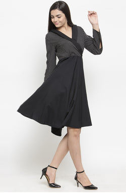Contrast-Bodice Party Dress by Afamado