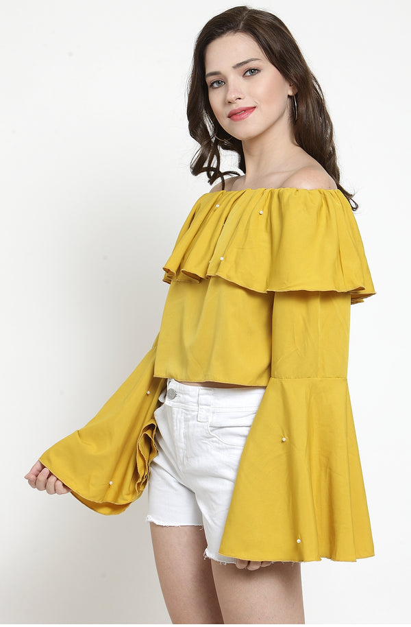 Yellow Crop Top with Bell Sleeves