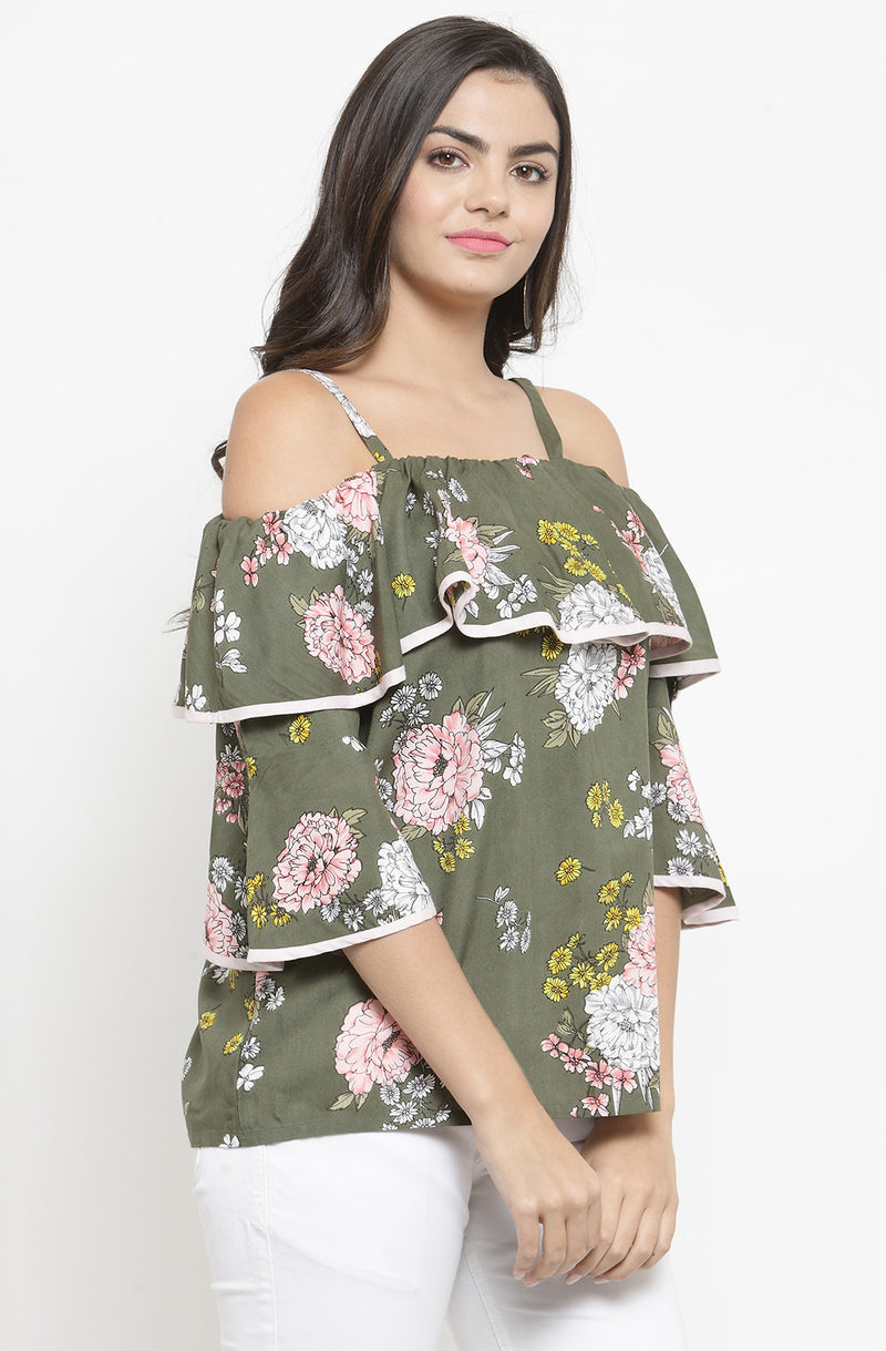 Off the shoulder Floral Top with Strap