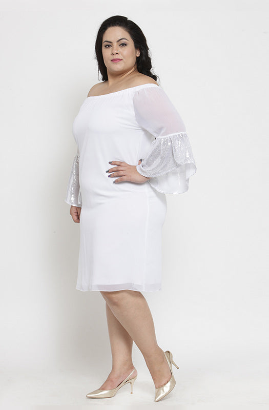 Casual White Off-Shoulder Dress with Angel Sleeves