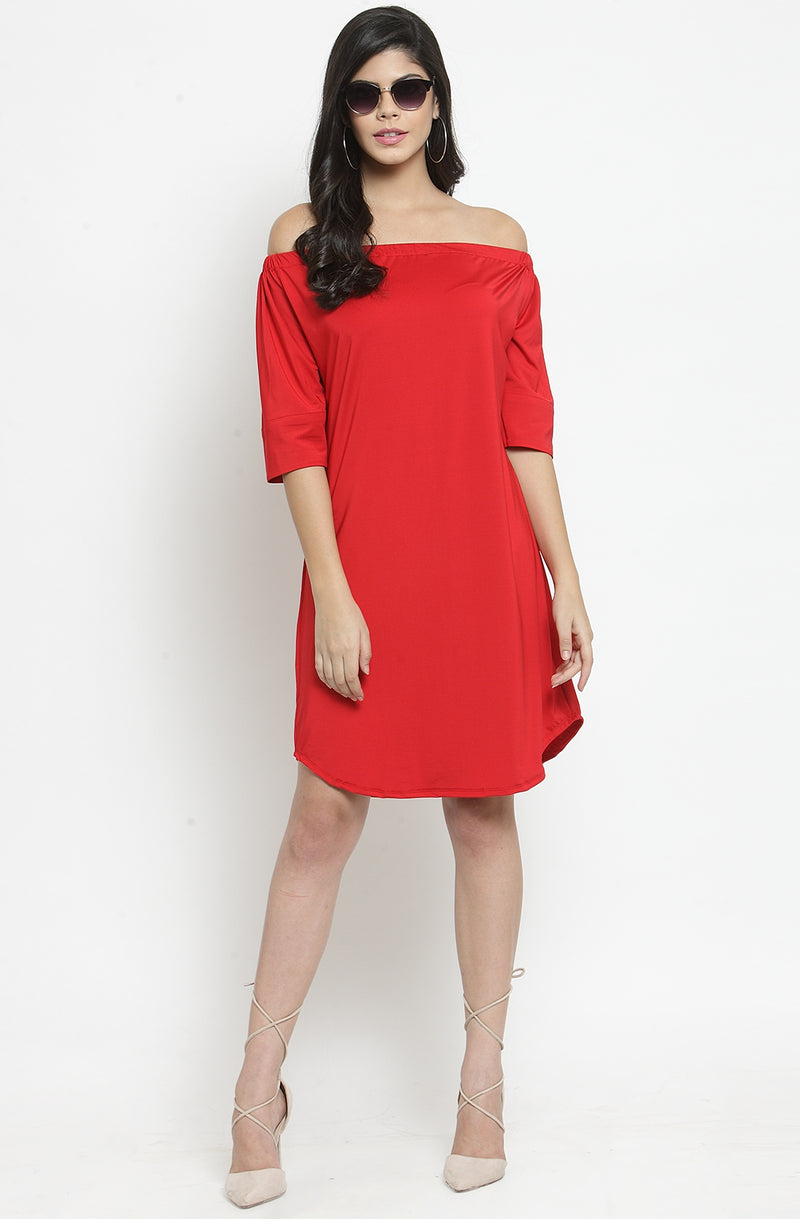 Elbow Sleeves Off-Shoulder A-Line Dress