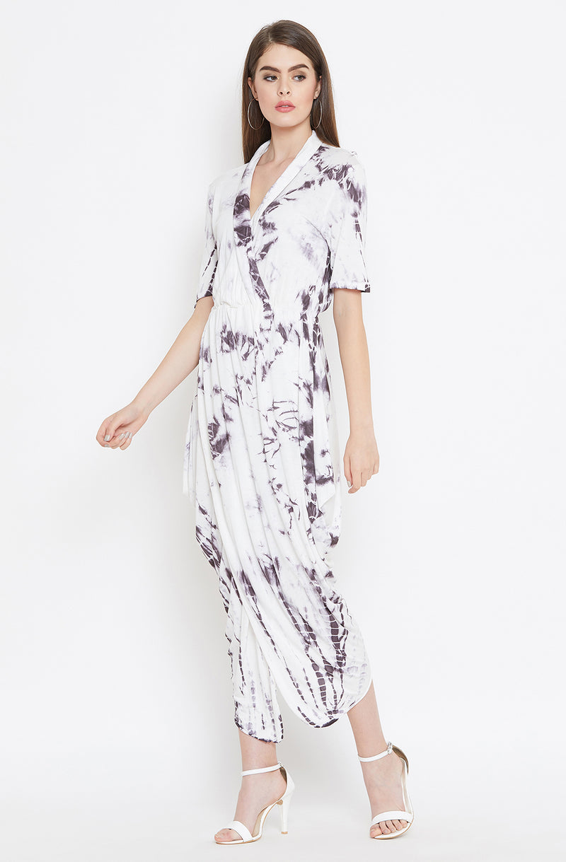 Collared Cotton Tie & Dye Drape Dress