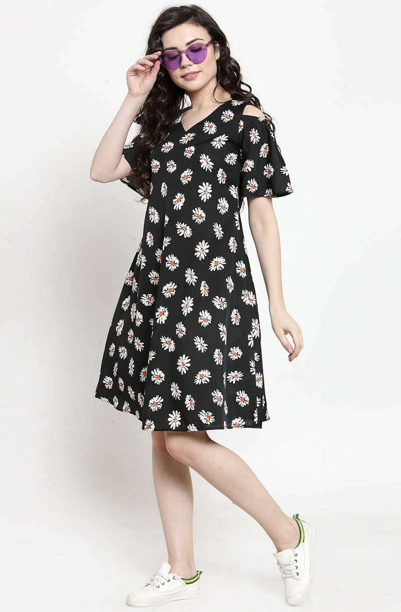 Printed Flare Sleeve Dress  by Afamado