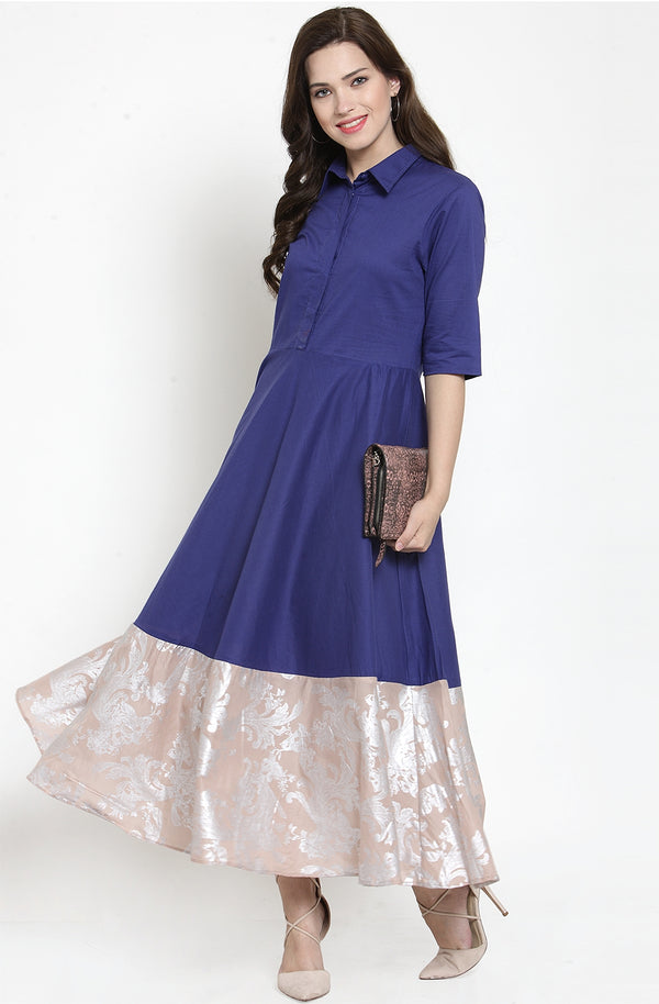 Cotton Indigo Gown with Contrast Shimmery Hem by Afamado