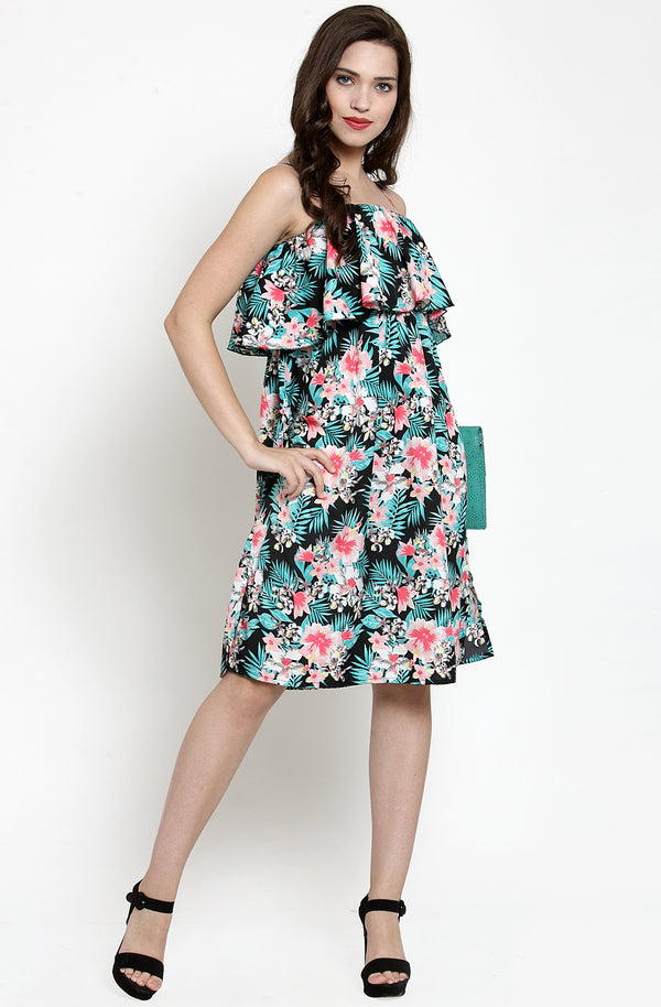 Printed Ruffle Dress by Afamado