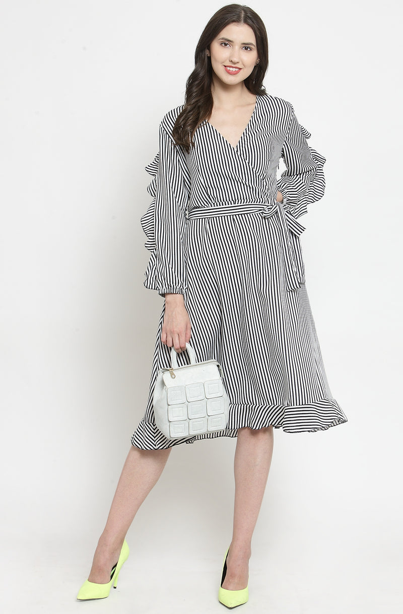 Black Nautical Stripe Casual Dress by Afamado