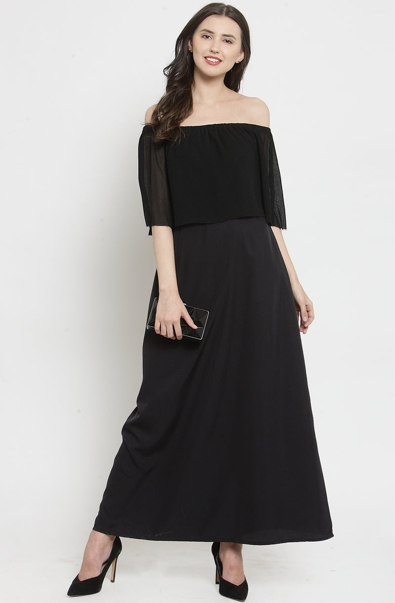 Black Off-Shoulder Layered Maxi Dress