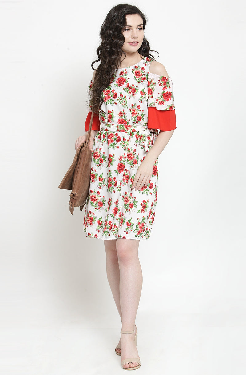 Contrast Floral Straight Fit Dress by Afamado