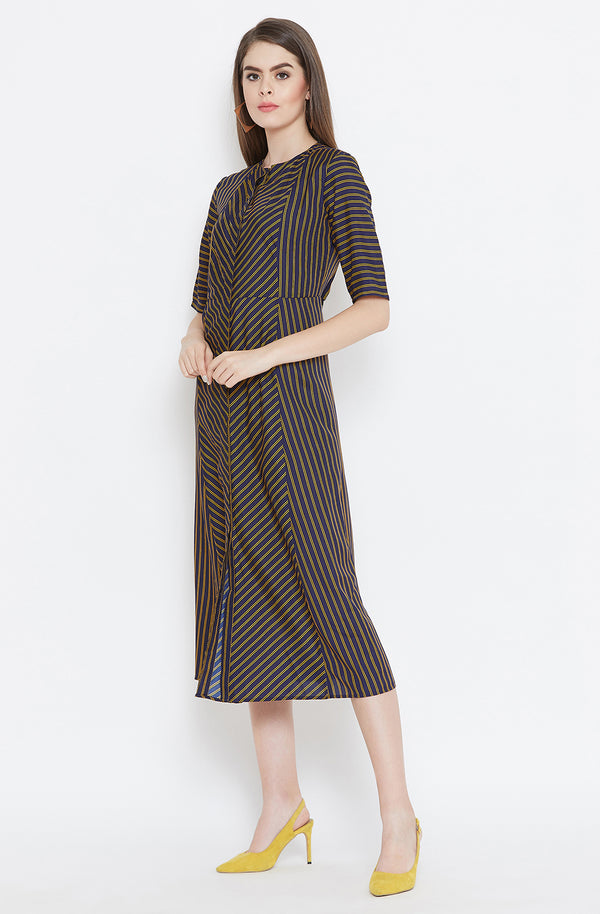 All Striped Casual A-Line Dress by Afamado