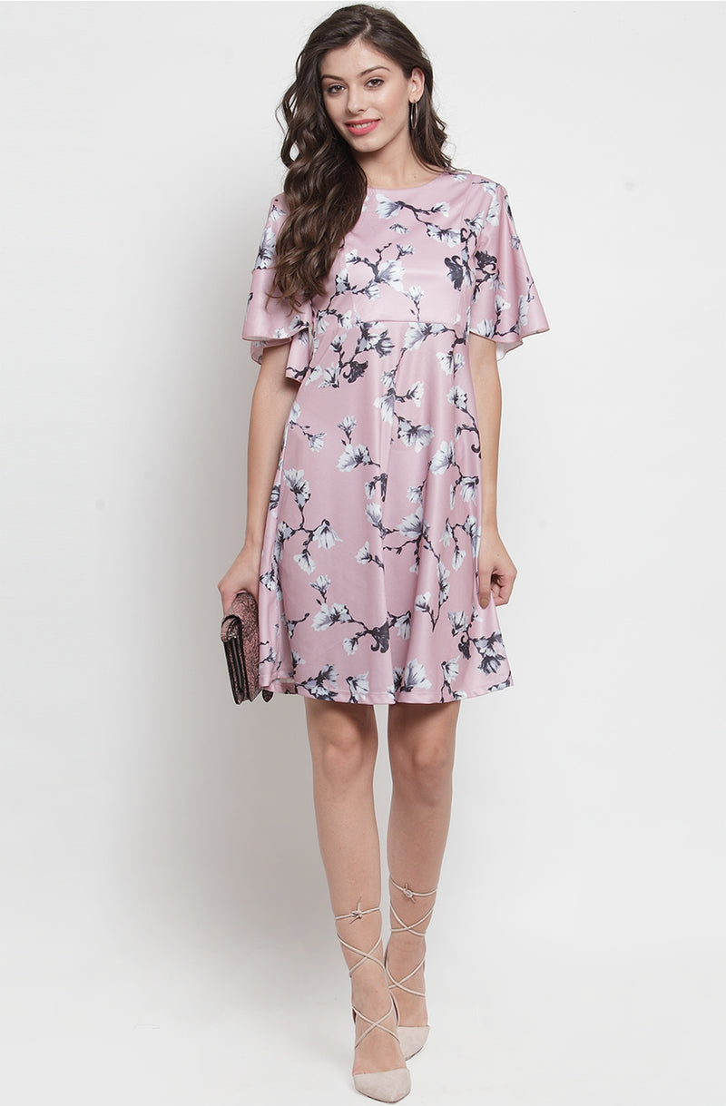 Cold-Shoulder Floral Dress  by Afamado