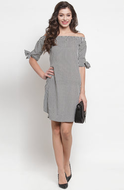 Off-Shoulder Dress with Tie-Sleeves by Afamado