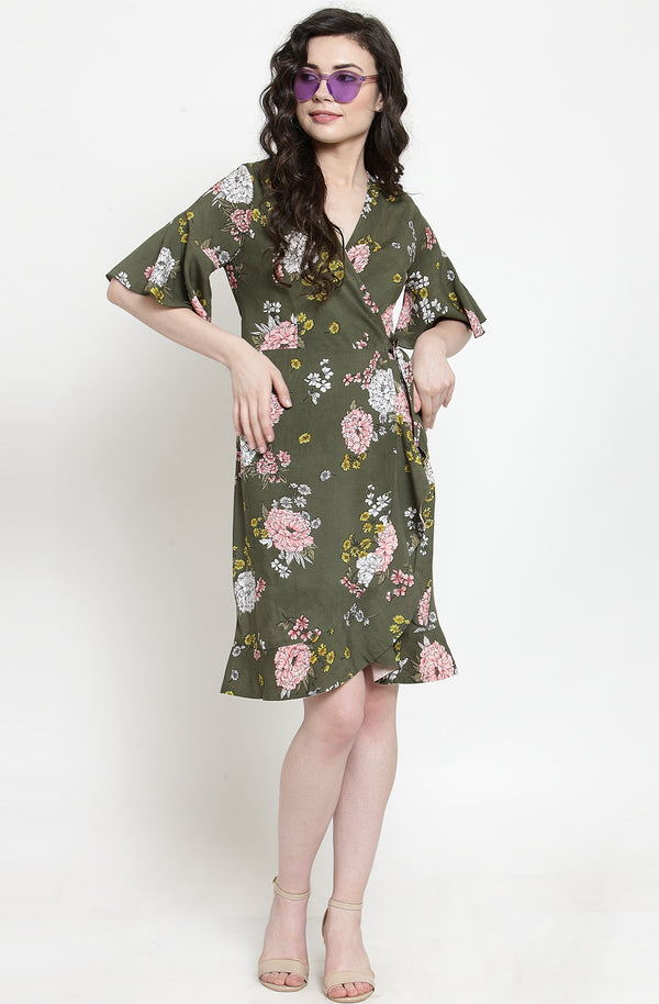Floral Print Cotton Wrap Dress by Afamado