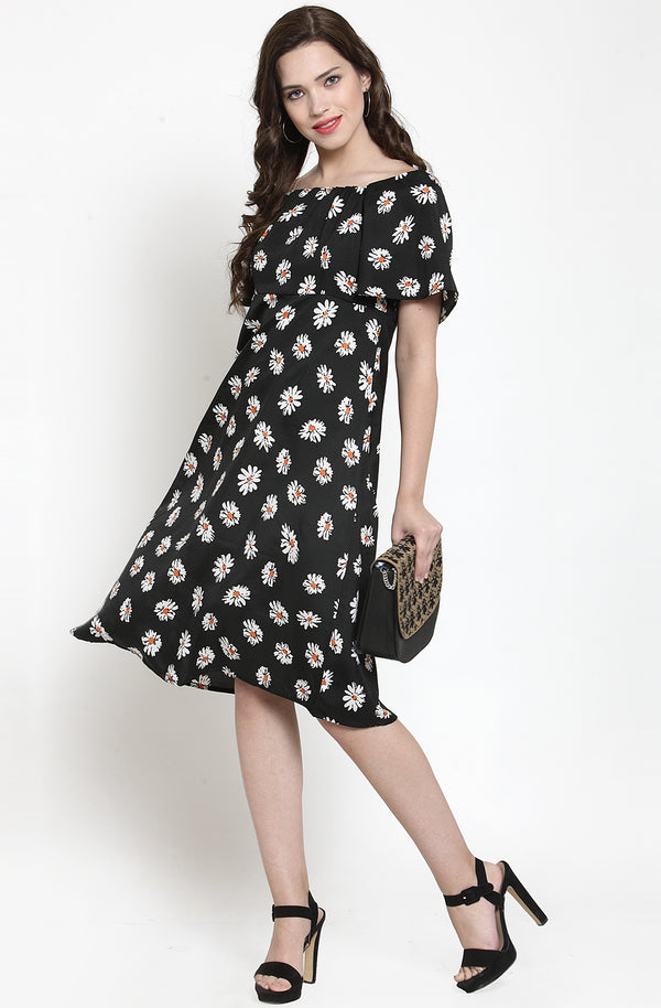 Fit & Flare Floral Print Dress by Afamado
