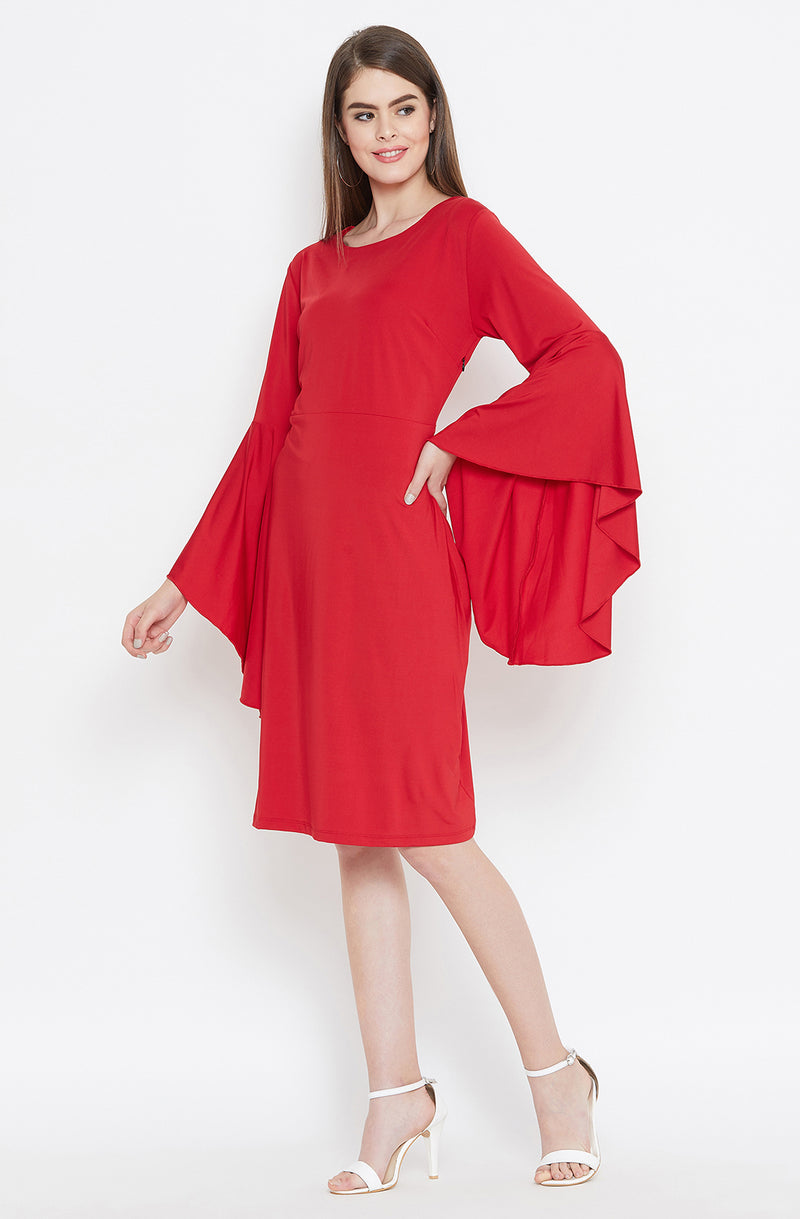 Romantic Red Dress with Flared Sleeves