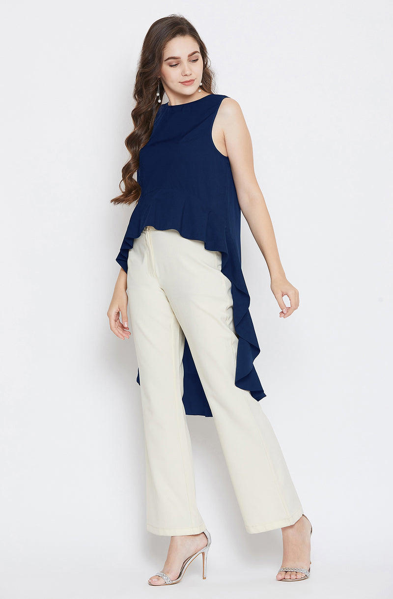 Solid Ruffled Off-shoulder Top