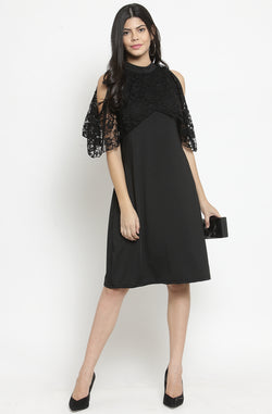 Cold-Shoulder with Lacy Cape Sleeves by Afamado
