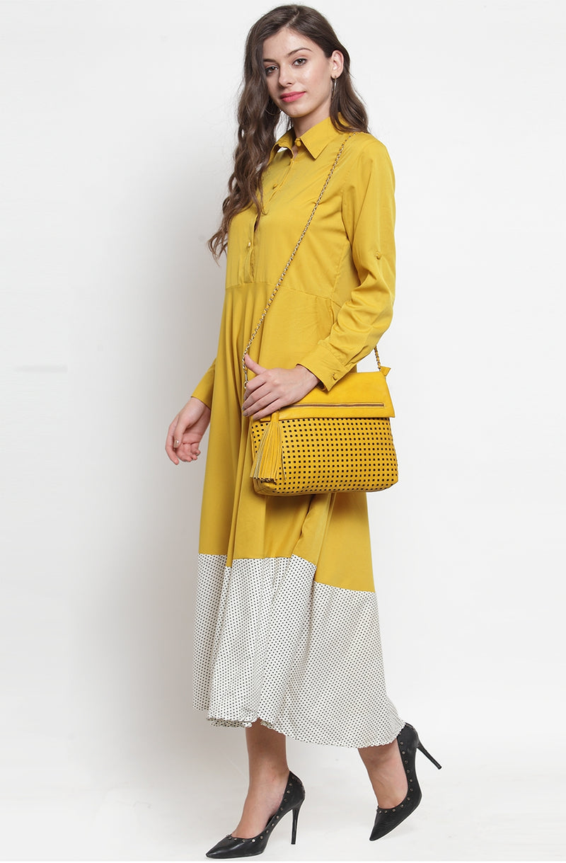 Yellow A-Line Maxi Dress by Afamado