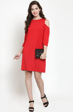 Round Neck A-Line Dress by Afamado