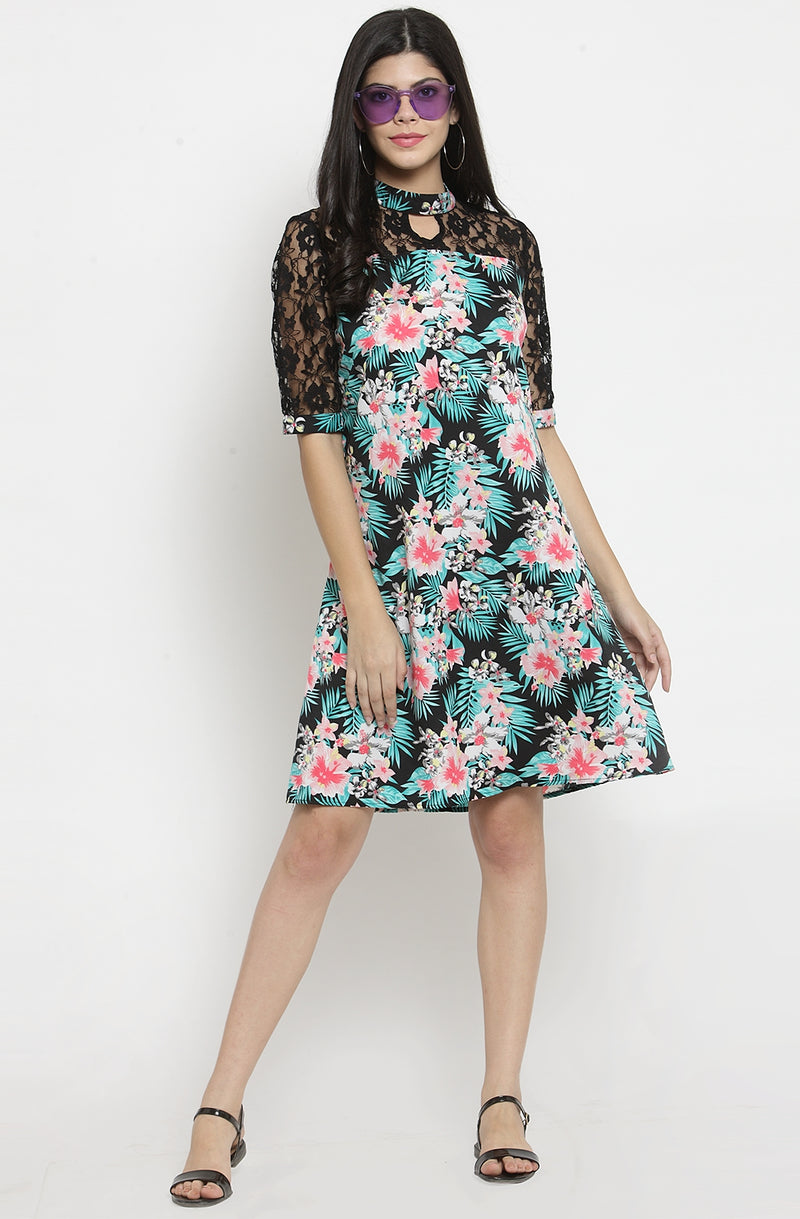 A Line Dress with Flare Sleeves