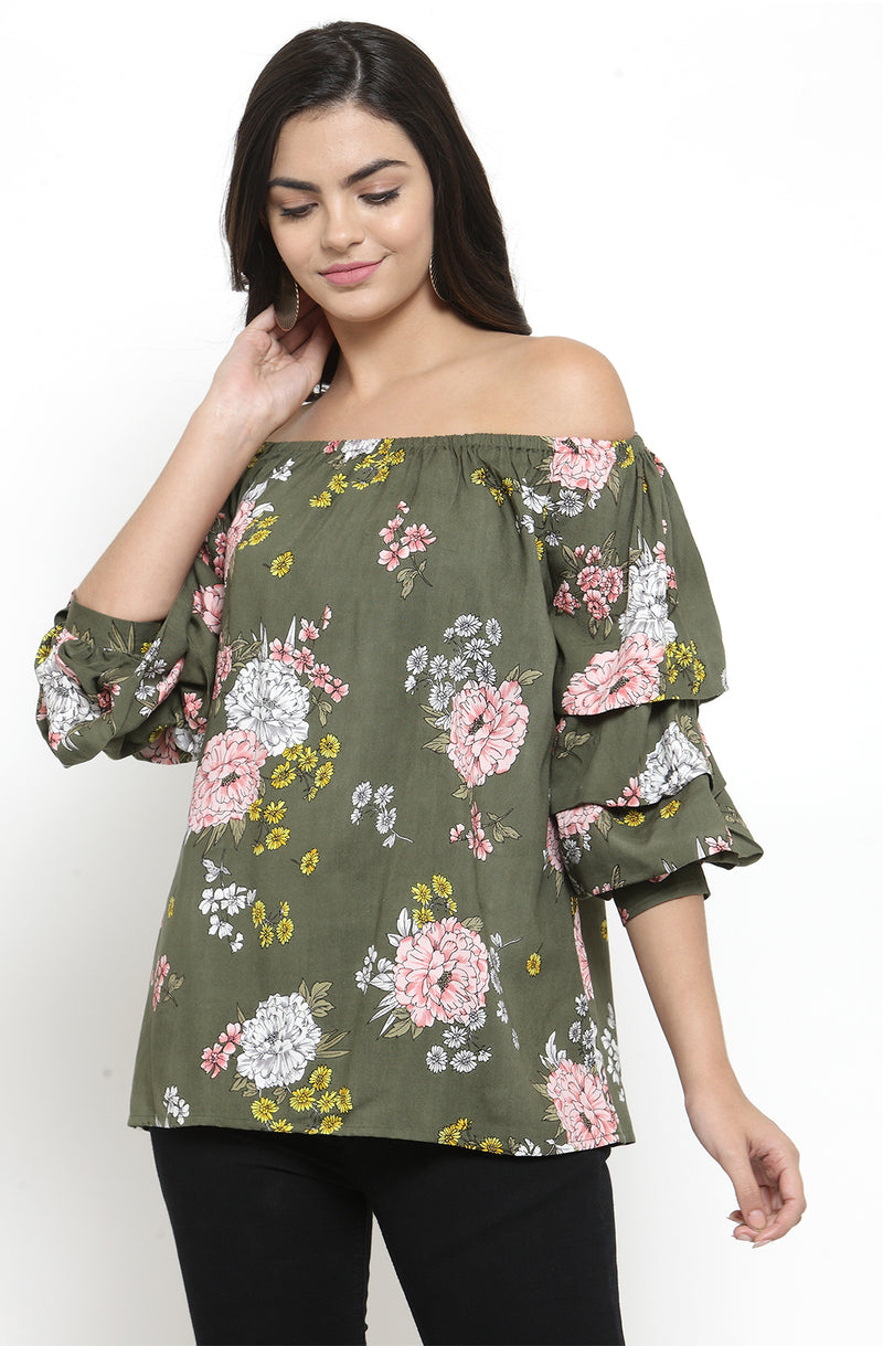 Floral Print Off-Shoulder Cotton Top