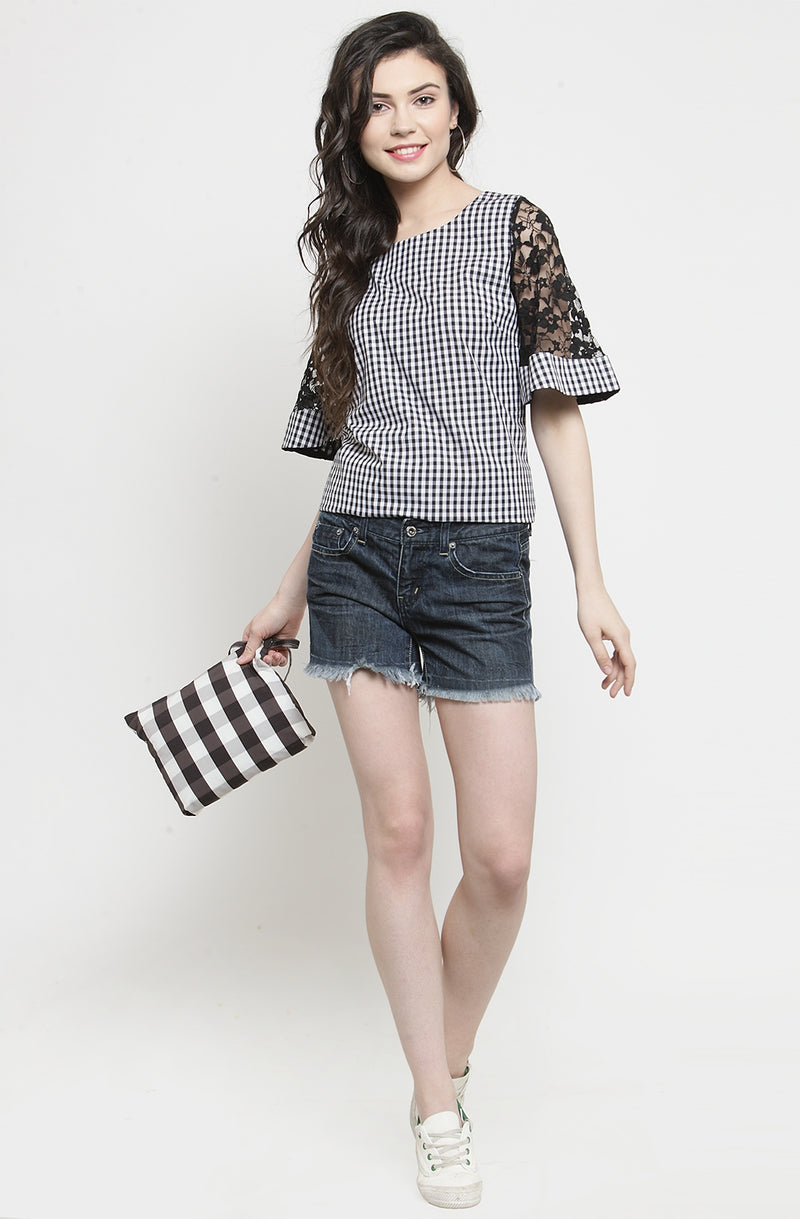 Gingham Flare Sleeve Top by Afamado