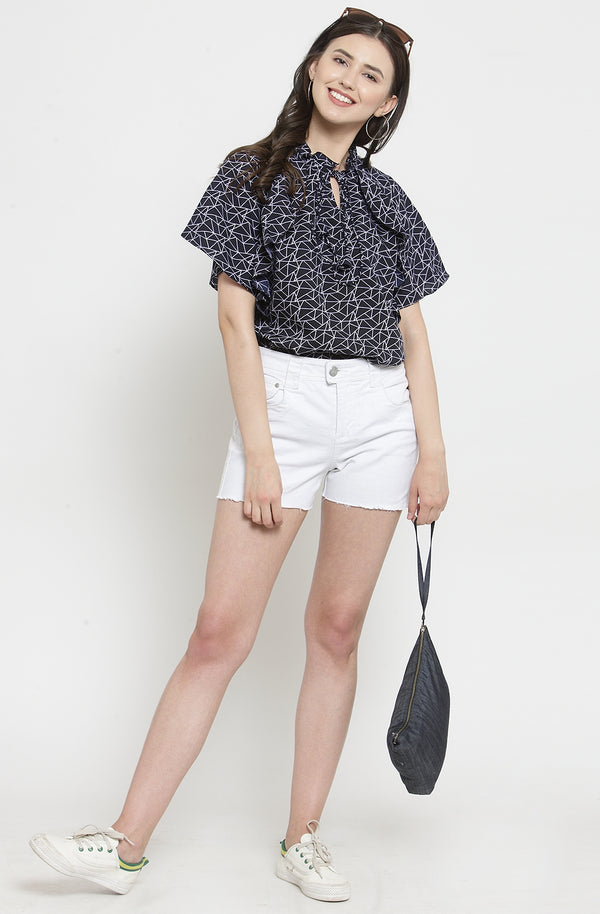Geometric Print Navy Blue Top by Afamado