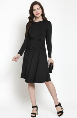 Long Sleeve Fit and Flare Dress by Afamado