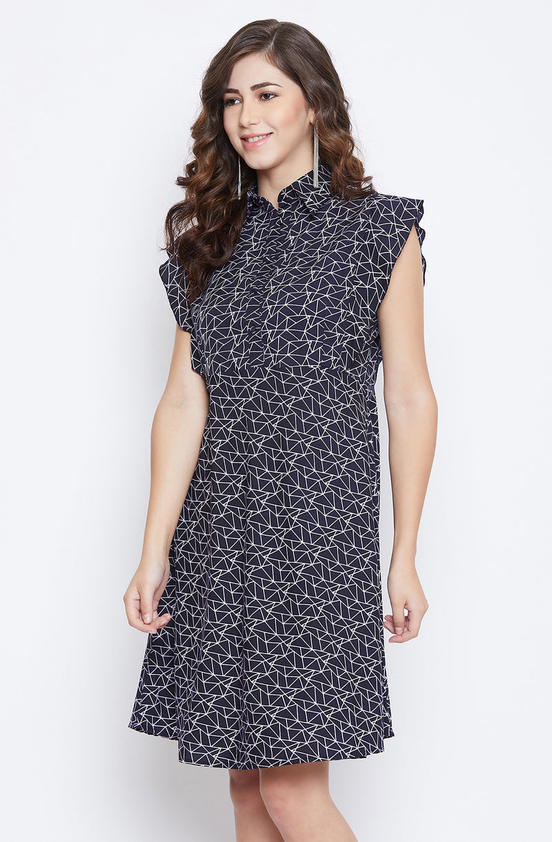 Printed Fit & Flare Casual Dress