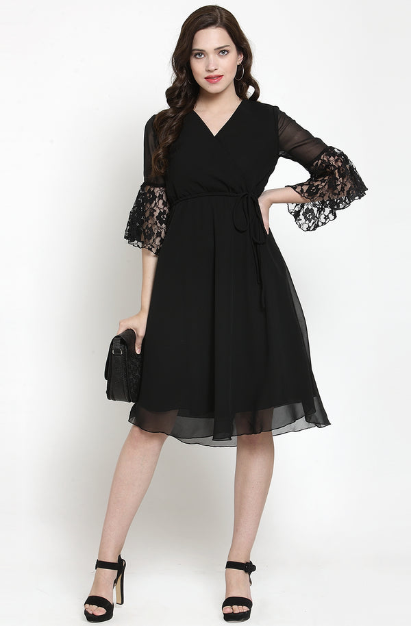 Black Solid Georgette Fit and Flare Dress by Afamado