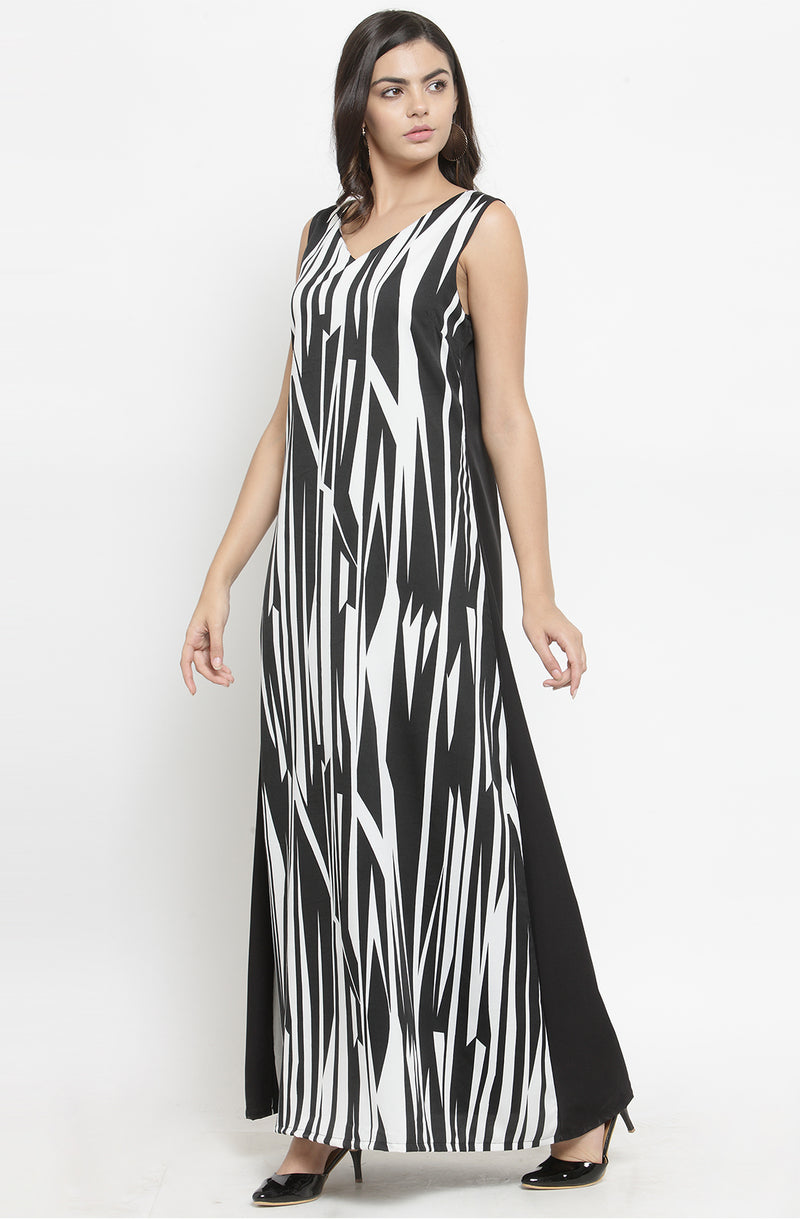 Monochrome Formal Maxi Dress