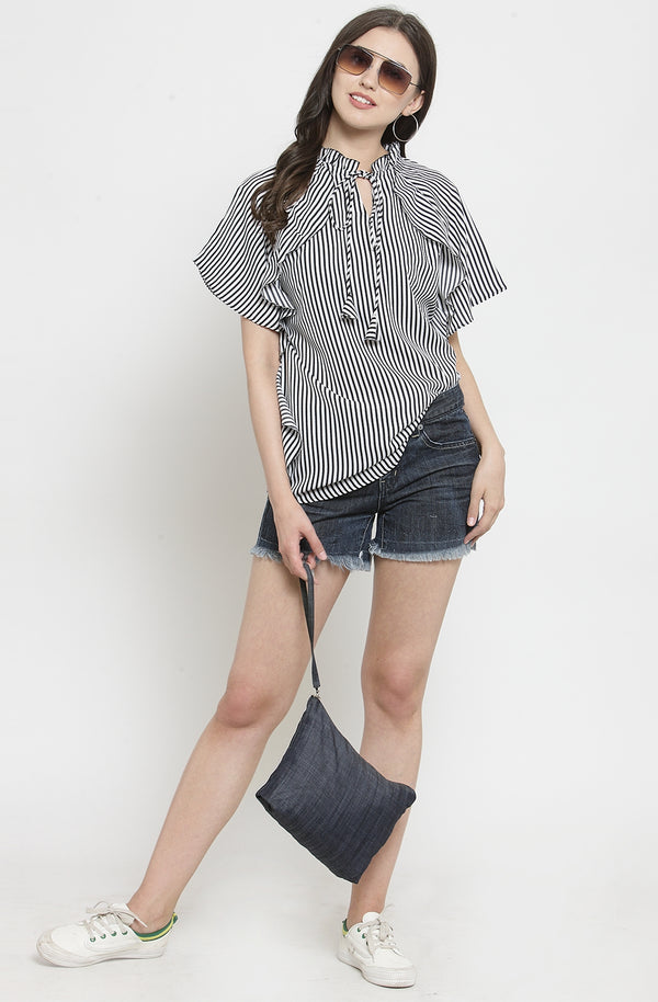 Nautical Stripe Ruffled Top by Afamado