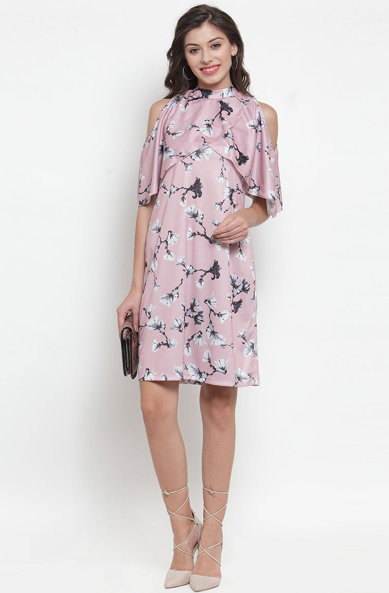 Floral Print Cold-Shoulder Cape Dress by Afamado