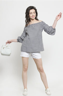 Gingham Print Off-Shoulder Top by Afamado