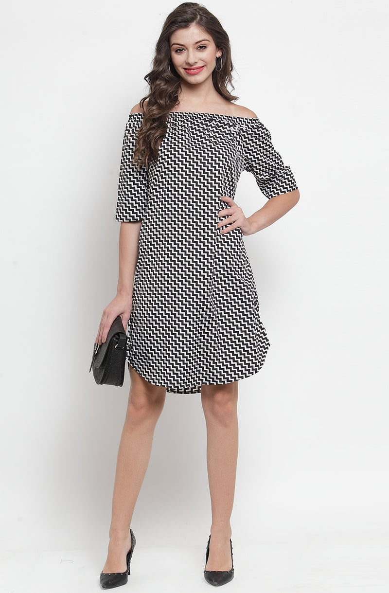 Chevron Print Off-Shoulder Dress by Afamado