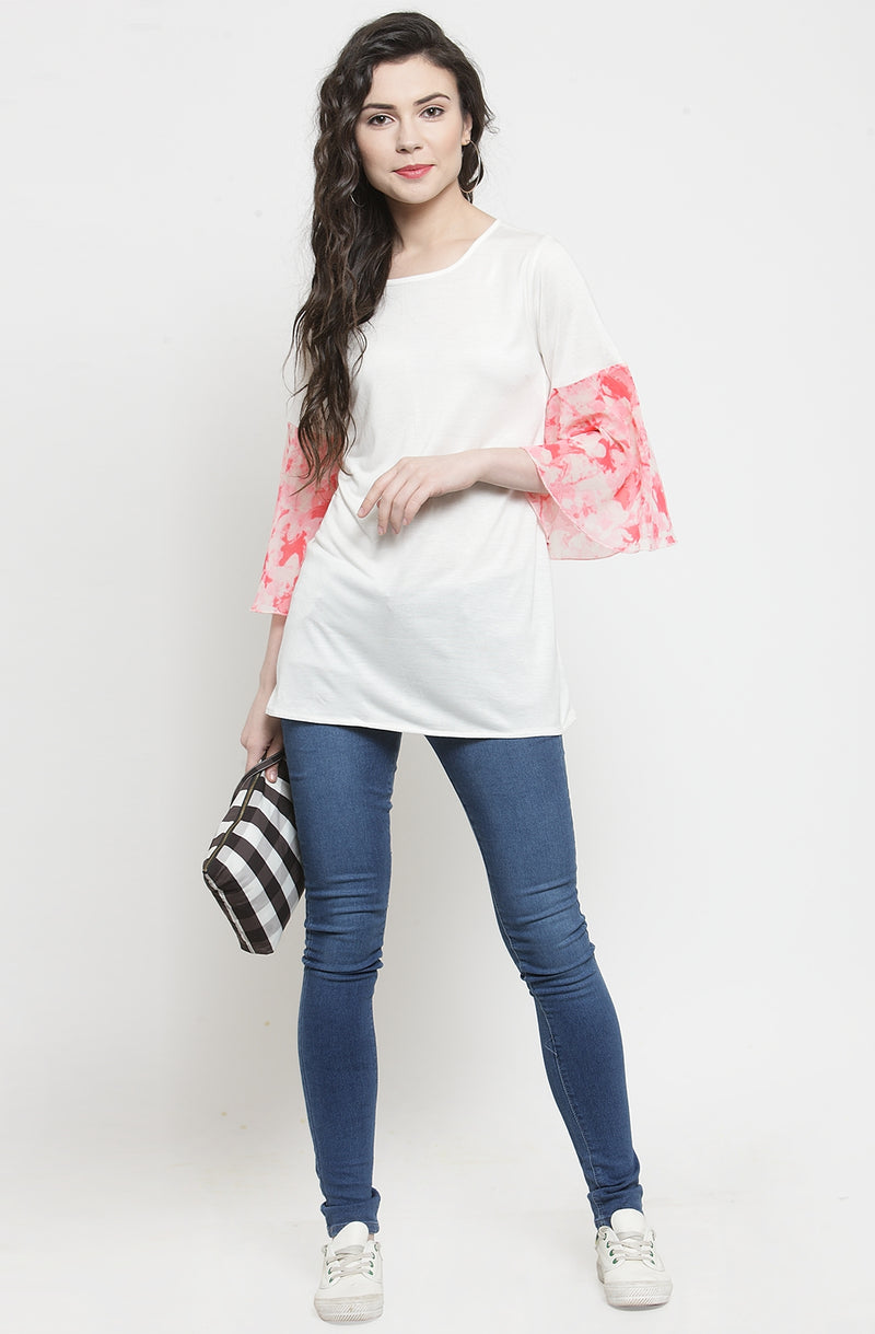Women's White Semi-Casual Top by Afamado