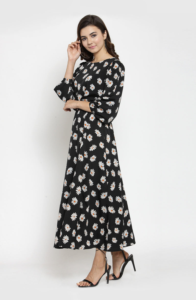 Boat Neck Maxi Dress with Bishop Sleeves