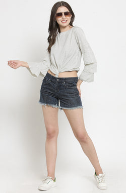 Micro Dot Top with Ruffled Sleeves by Afamado